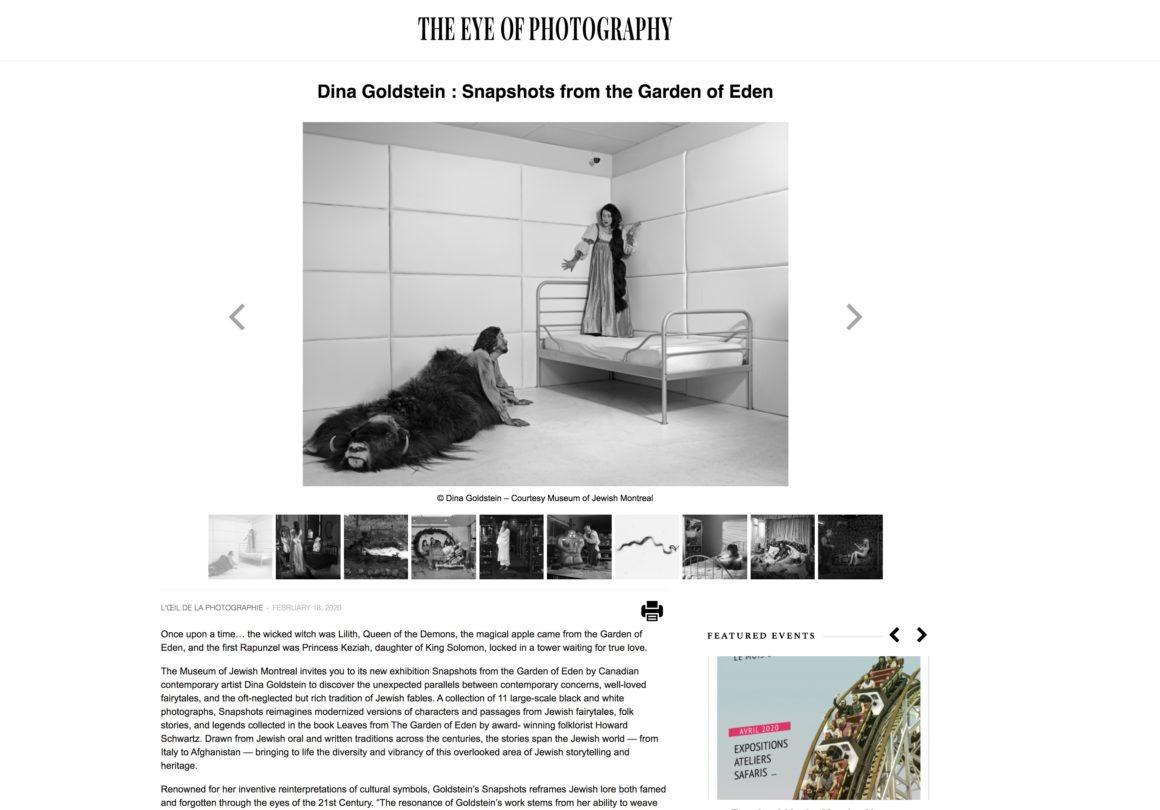 l'oeil de la photographie Snapshots From The Garden Of Eden by artist Dina Goldstein exhibition notice